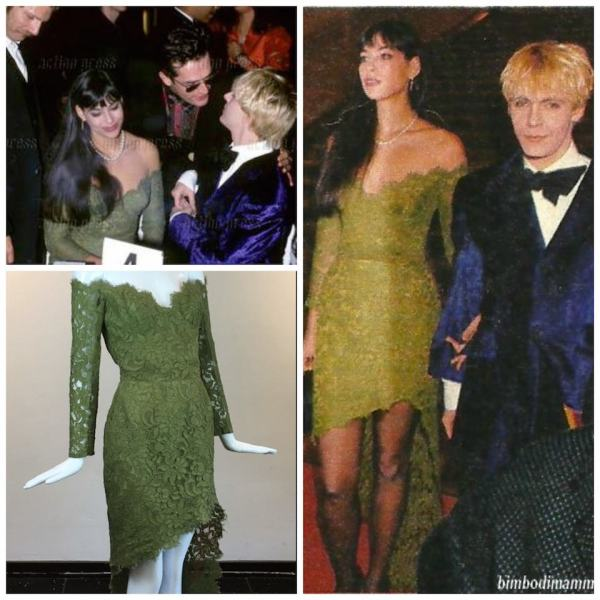 """Green lace """"Alligator dress"""" with removable train at the Best Dressed Awards in Paris with Nick Rhodes and Rupert Everett"""