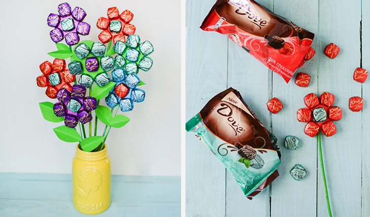 chocolates made into a bouquet