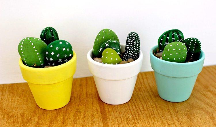 rocks painted as mini cactus