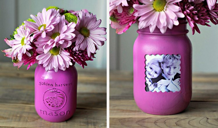 mason jar vases with picture frames