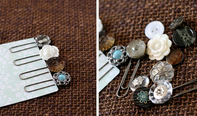 bookmarks made with buttons and paperclips