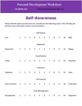 self awareness worksheet