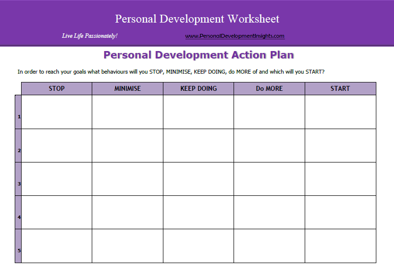 Personal Development Worksheets FREE – Personal Development Action Plan Template