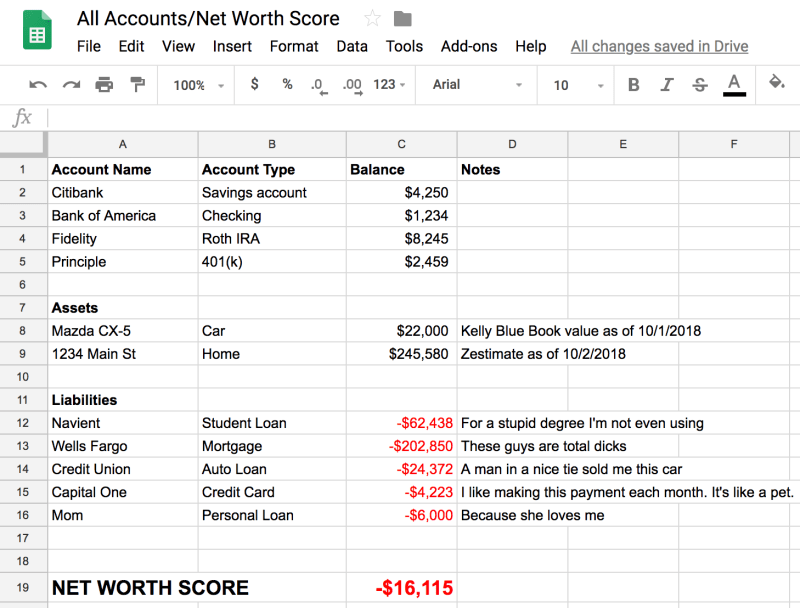 How to calculate net worth spreadsheet