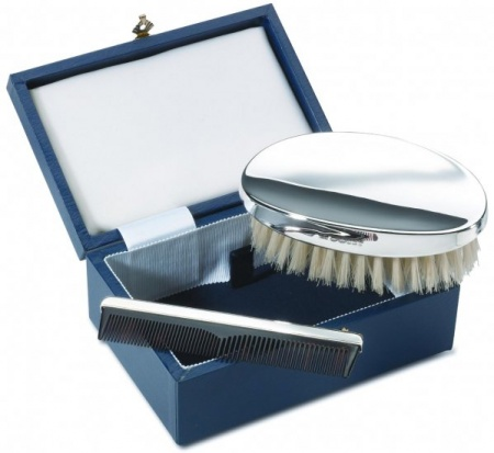 gents hair brush b set cased hallmarked sterling silver can be personalised