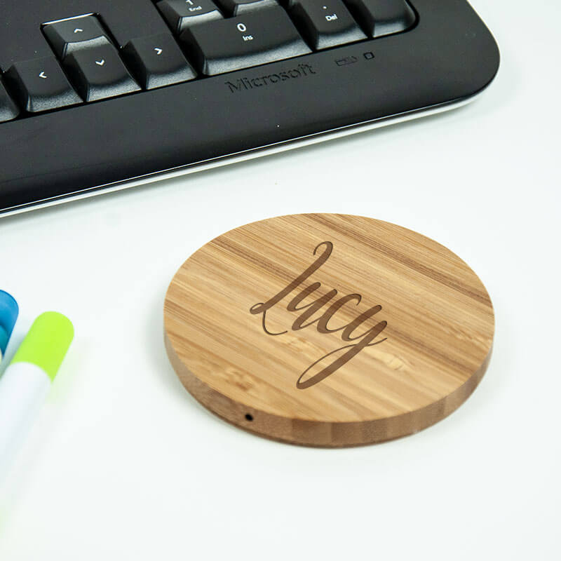 Personalised Bamboo Wireless Chargers