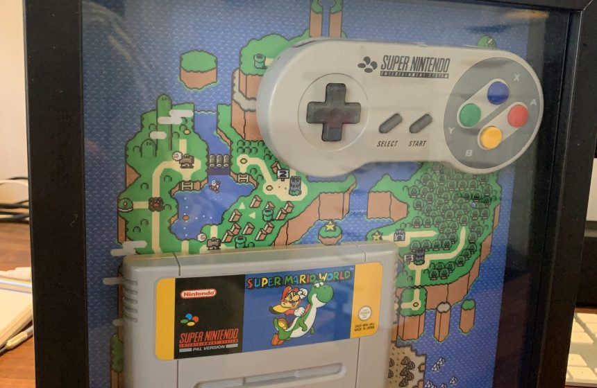 SNES Super Mario World Game & Controller Frame