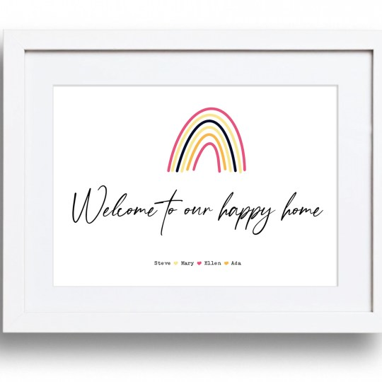 Welcome to our new home framed print