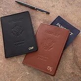 Personalized Leather Passport Covers - First Class Monogram Design - 2837