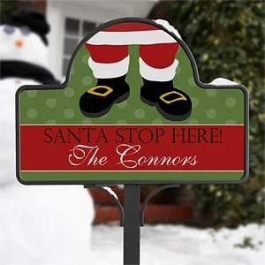 Personalized Christmas Yard Stake Magnet Santa Claus
