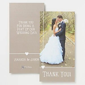 Personalized Wedding Photo Thank You Cards Single Photo
