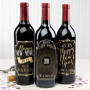 Personalized Happy New Year Wine Bottle Labels