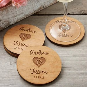 Rustic Wedding Party Favors   Personalized Coasters Buy rustic wedding party favors personalized coasters  Add the bride    groom s names and wedding date  Free personalization   fast shipping