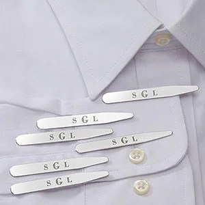 Classic Personalized Collar Stays Set of 3- Monogram