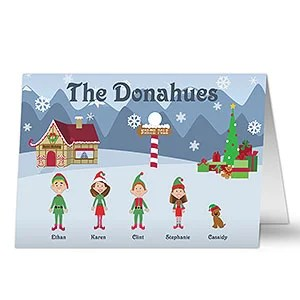 Family Cartoon Character Personalized Christmas Cards