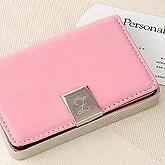 Engraved Pink Leather Business Card Holder - 3149