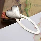 Engraved Silver Heart Personalized Bookmark - 3270