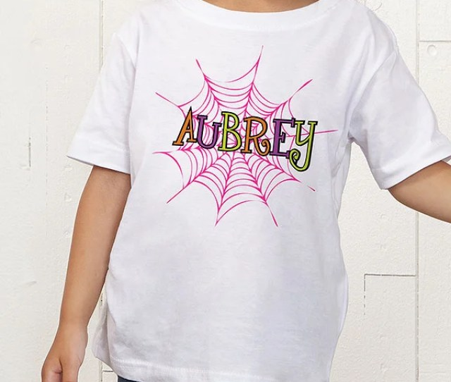 Personalized Girls Halloween Shirts Spider Webs