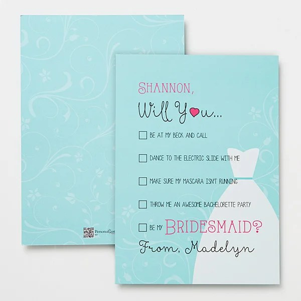 Will You Be My Bridesmaid Personalized Card