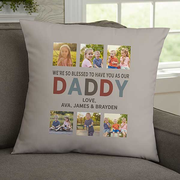 glad you re our dad personalized 18 inch velvet photo pillow