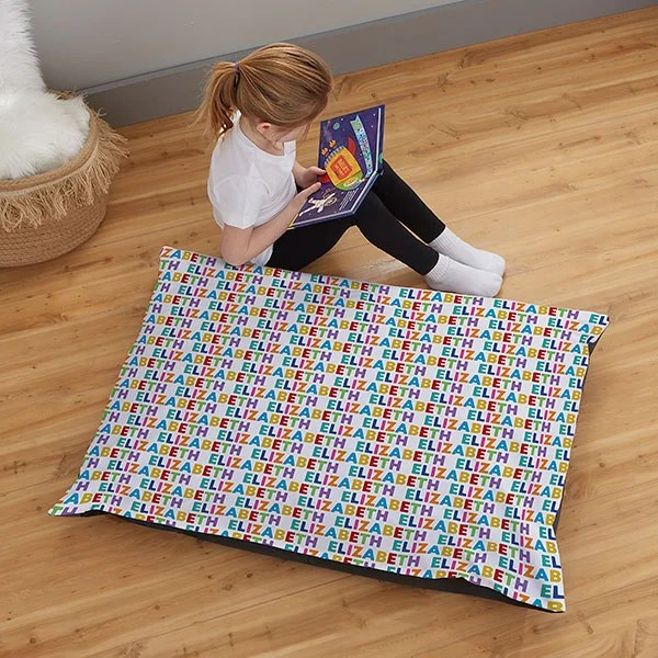 vibrant name for her personalized 30x40 kids floor pillow