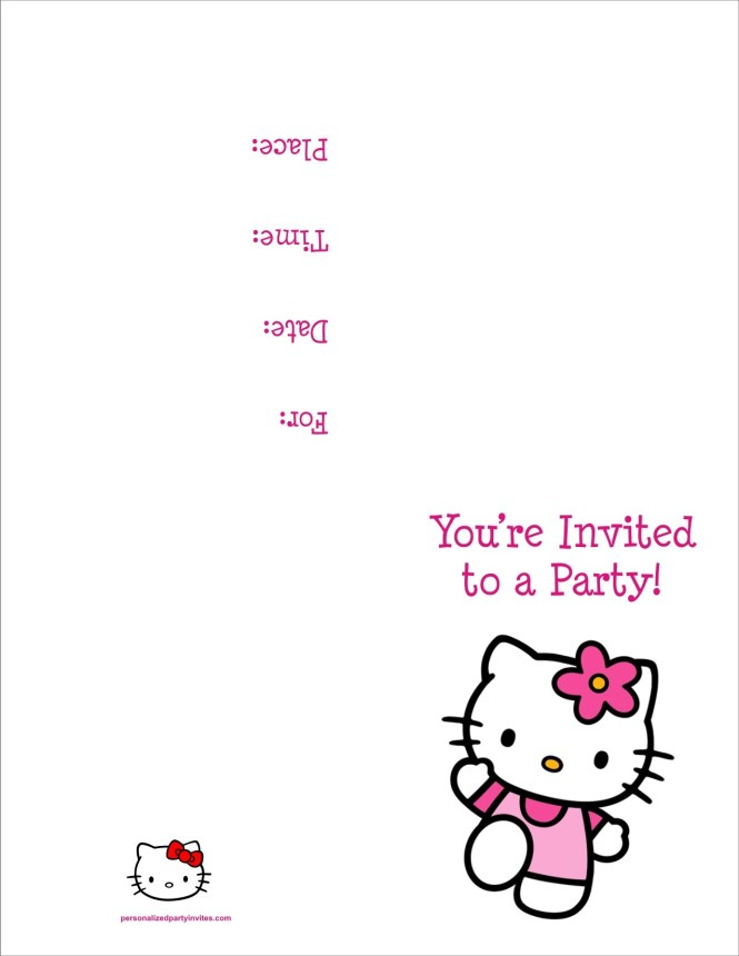 O Kitty Free Printable Birthday Party Invitation