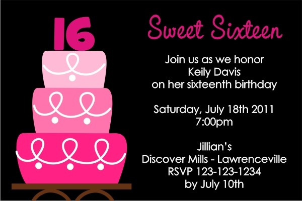 sweet 16 or any age birthday invitation personalized party invites
