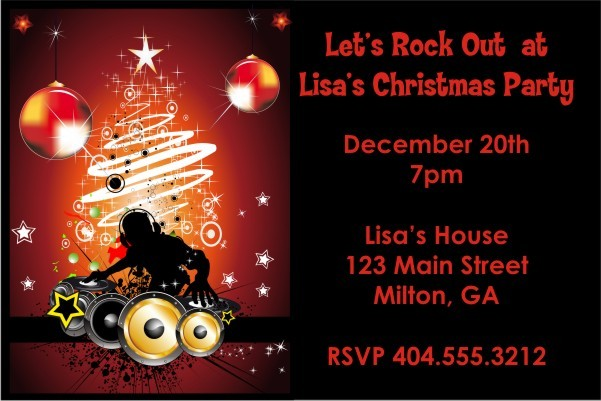 Christmas DJ Holiday Party Invitation Personalized Party