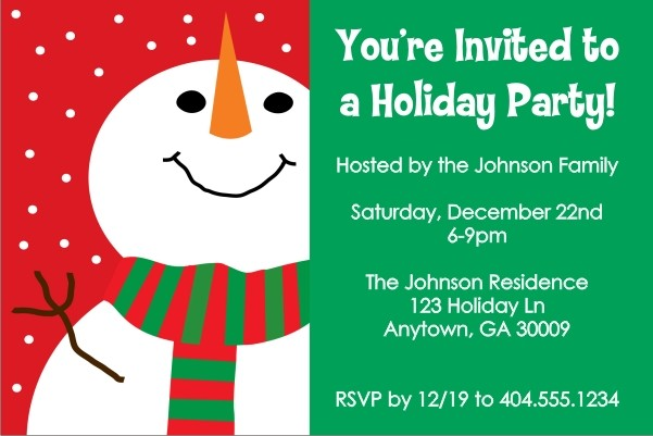Smiling Snowman Christmas Holiday Party Invitation