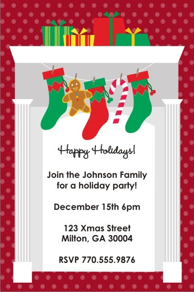 Fireplace Stockings Holiday Christmas Party Invitation