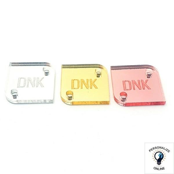 Etiqueta personalizada de acrílico quadrada 1,5x1,5 cm