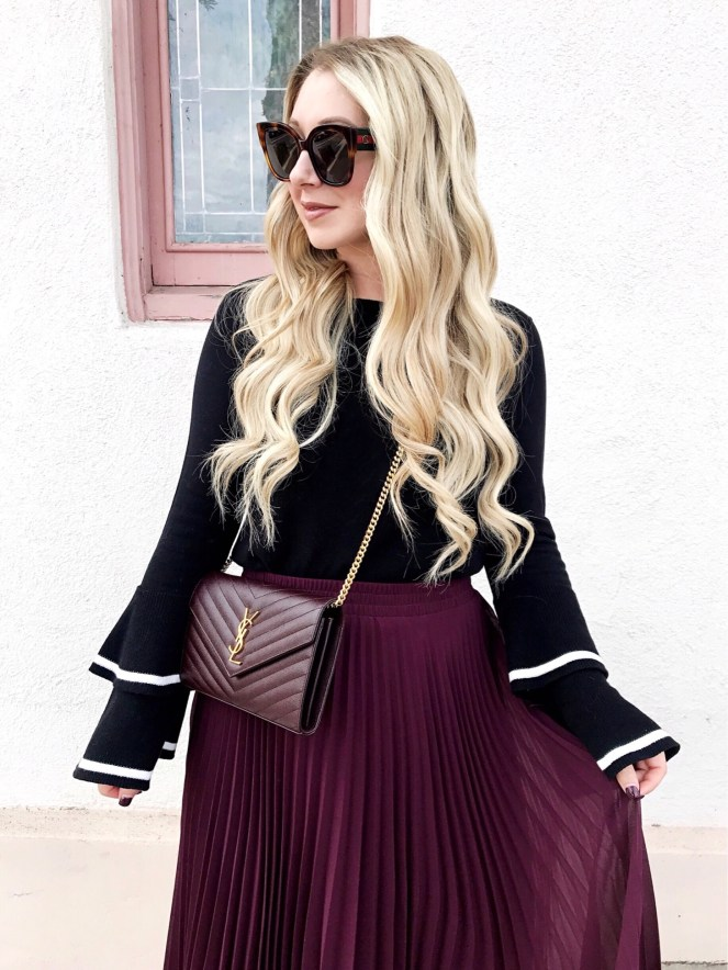 Nordstrom, CeCe Sportswear, Pleated Skirt, YSL, OC Blogger, Bell Sleeves, YSL Bag, Hair Extensions