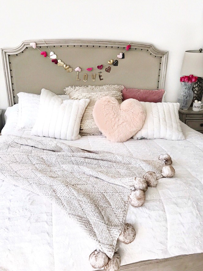 valentines day, bedroom decor, home decor, pom blanket, faux fur pillows