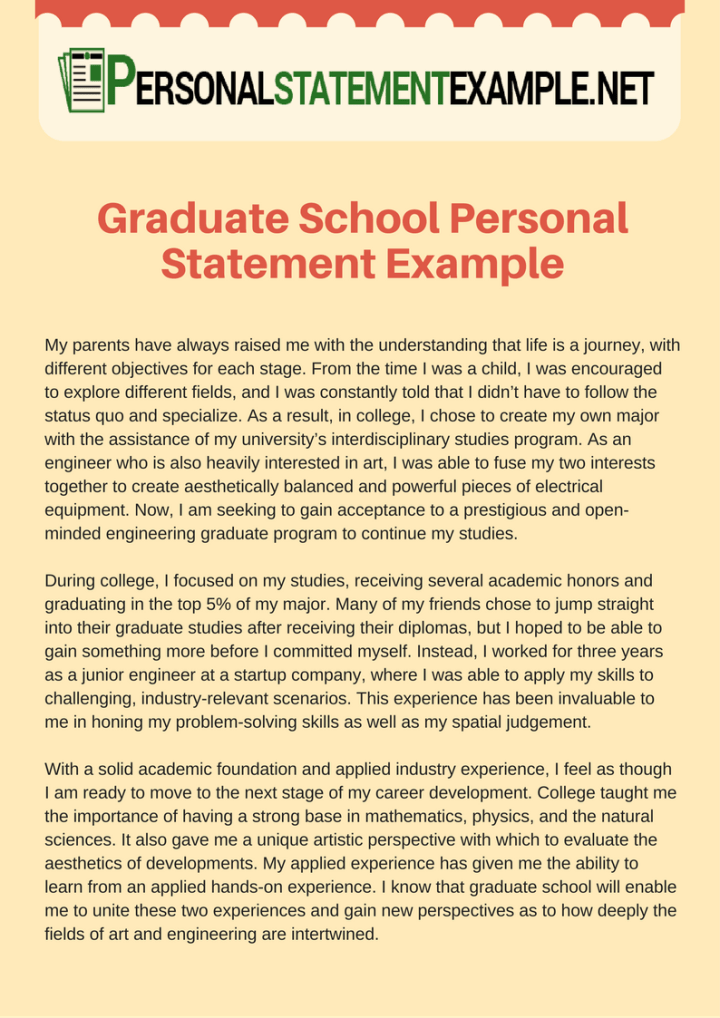 personal essay for graduate school examples