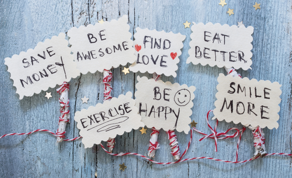 A cute arrangement of crafty New Year's Resolutions.