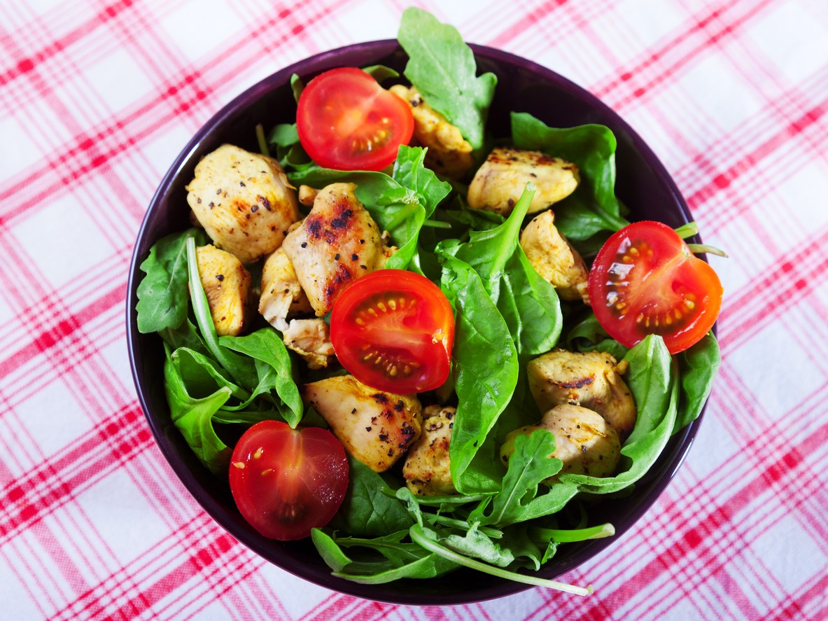 Make a healthy low carb lunch with this easy chicken and tomato salad.
