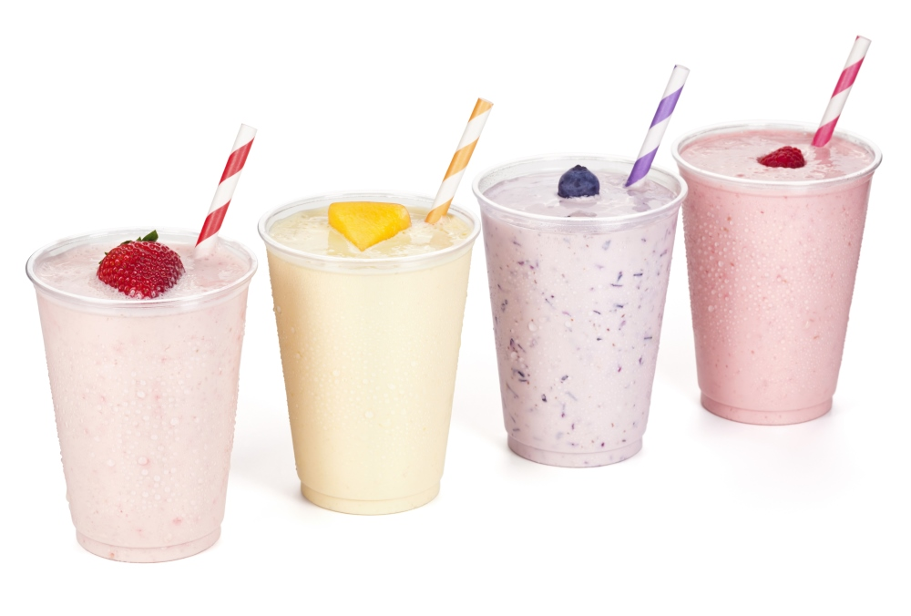 Four fruit smoothies that might as well be milkshakes.