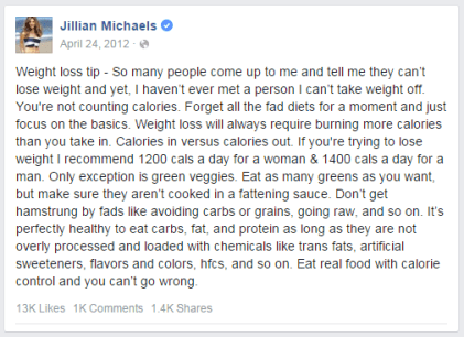 Jillian Michaels of the Biggest Loser tells us to count calories for fat loss; it's just wrong!