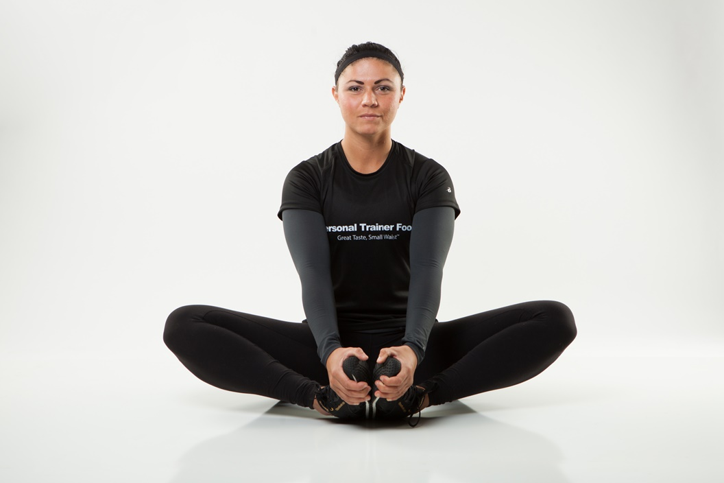Try this butterfly stretch from Personal Trainer Food to target your inner thighs and hips.