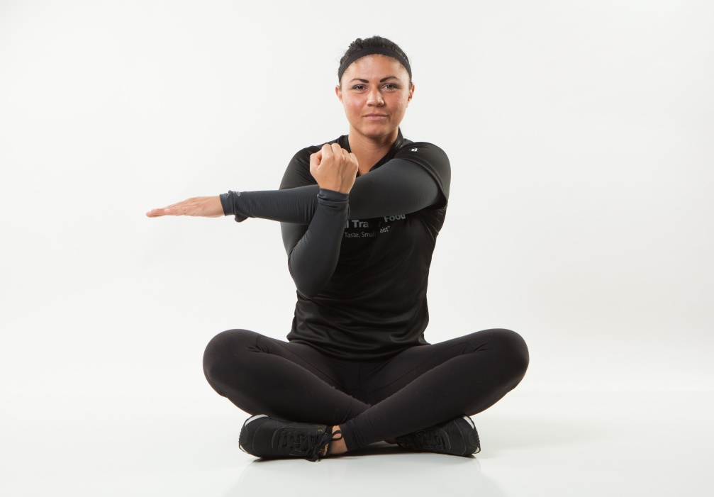 Relieve upper back and shoulder stress with this seated stretch from Personal Trainer Food that you can do at home, at the office, or anytime you need to relieve pain in your back and neck.