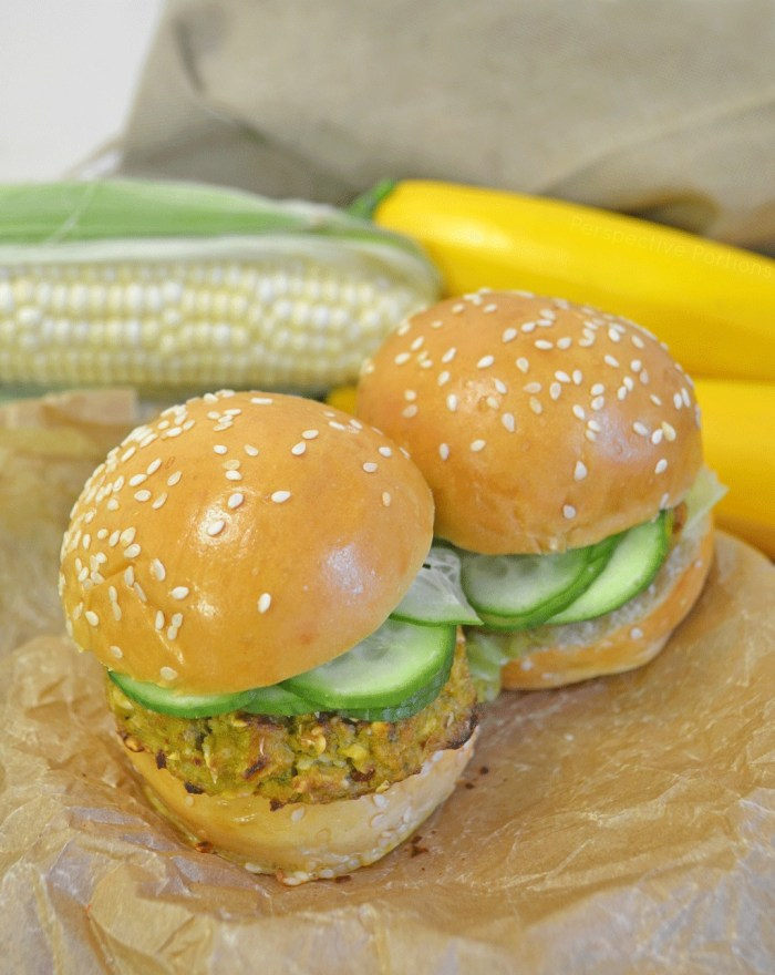 A sweet and spicy veggie burger full of fresh corn and Summer squash.