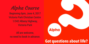 Alpha Course Running Winter 2017