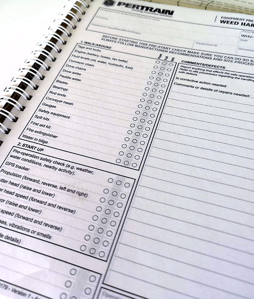 Form from Pre-start checklist books for Weed harvester