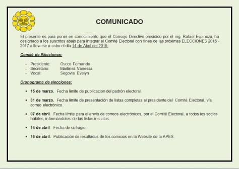 COMUNICADO ELECCIONES