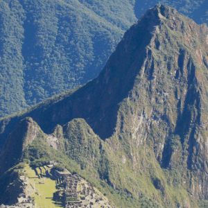 Huayna Picchu in the background of the Citadel at Machu Picchu