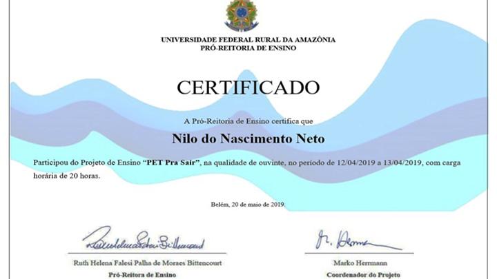 Certificados PET pra sair 2019
