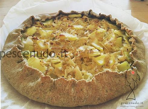Vegan quiche with potatoes and cabbage