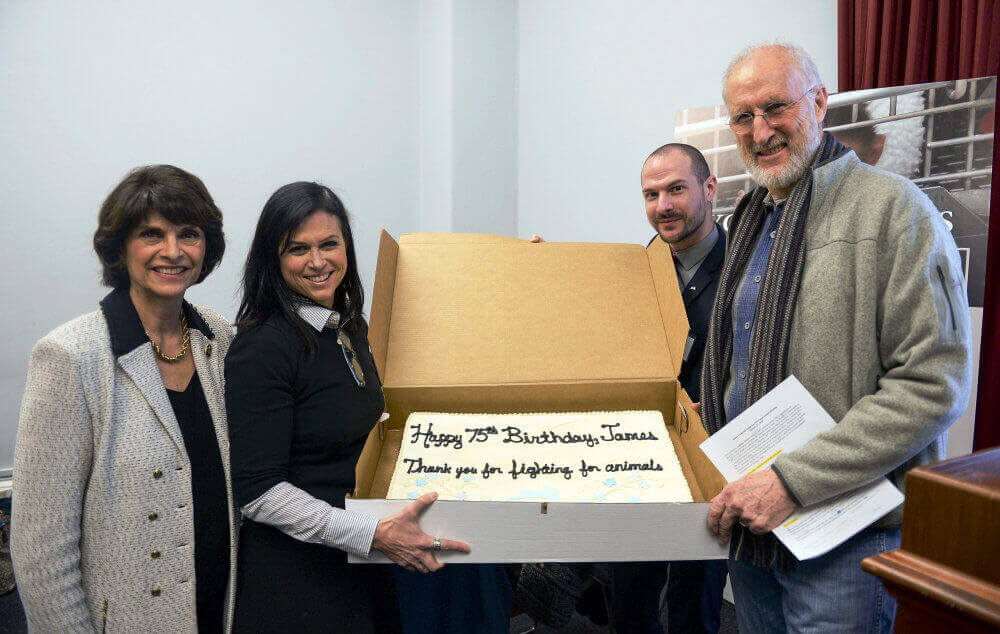 Representative Lucille Roybal-Allard, Together With PETA's Lisa Lange and Justin Goodman, Presenting a Birthday Cake to James Cromwell