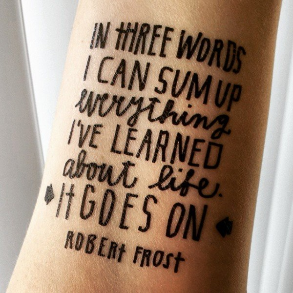 Frost Quote Temporary Tattoo
