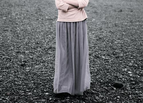 Iラインのチュールスカート